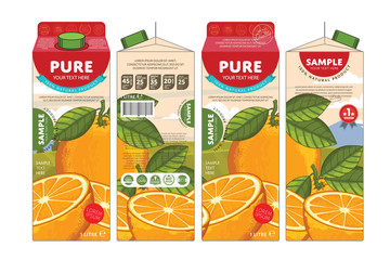 Orange Juice Carton Cardboard Box Pack Design