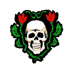Skull and Flowers .