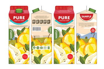 Pear Juice Carton Cardboard Box Pack Design