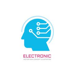 Digital human vector logo concept illustration. Creative idea dea logo. Human head logo icon. Learning logo. Human chip logo. Innovation logo. New technology logo. Modern communication logo. Manager.