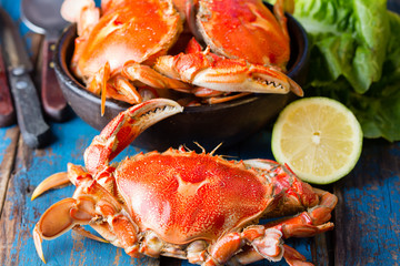 Poster Coquillage Seafood. Bowl of crabs on wooden blue background. Traditional food on Holy week Easter in Latin America.