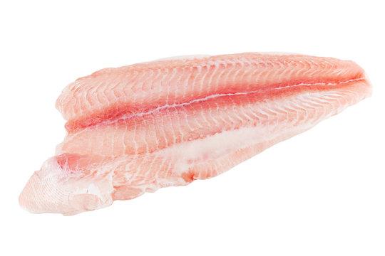 Closeup catfish slice on wwhite