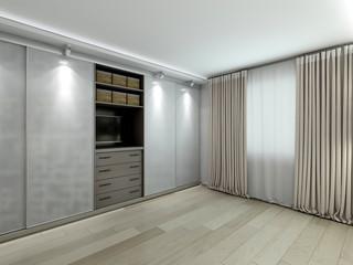 wardrobe in the modern interior rendering