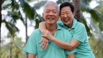 close up potrait of Asian senior couple on bright green backgrou