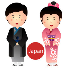 Illustrator of Japan Boy and Girl vector isolated on white background