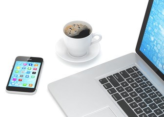 Laptop smartphone and coffee cup