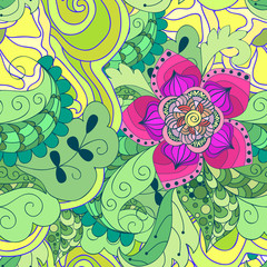 Design seamless pattern. Abstract purple flower and green leaves. Hand drawn background. Perfect for printing on fabric or paper.