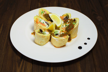 Rolls Of Thin Pancakes With Salted Red Fish