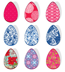 Set with Easter eggs with floral ornamental patterns, isolated o