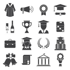 Graduation Day Certification Ceremony Vector Icons