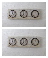 Three wall travel clocks in different time zones
