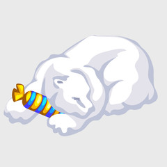 Polar bear rests with candy, vector silhouettes