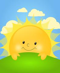 Cute sun behind green hill