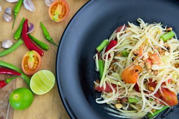 "Famous Thai food, papaya salad or what we called ""Somtum"" in Thai"