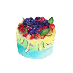 sponge cake with fruit. isolated. watercolor