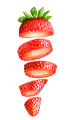 Falling sliced strawberry isolated on white