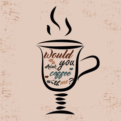 Hand drawn cup of coffee with text