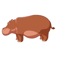 Cartoon brown hippo