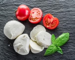 Mozzarella and tomatoes.
