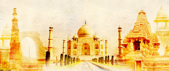Keuken foto achterwand India Grunge background with paper texture and landmarks of India