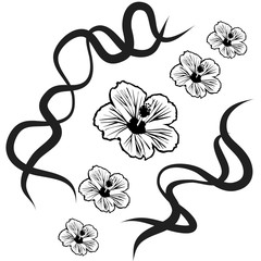 Vector silhouette of flower.