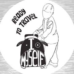 ravel inspiration quotes on suitcase silhouette. Vintage letteri