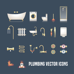 Collection of vector  plumbing symbols objects