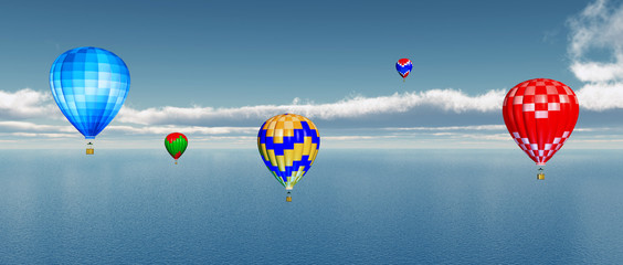 Heißluftballone über dem Meer