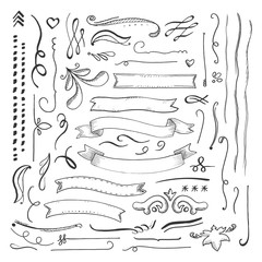 Ink engaved hand drawn decorative elements set