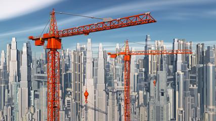 Baukräne vor einer Stadtlandschaft