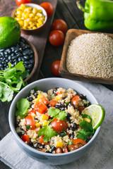 Black bean quinoa salad and ingredients