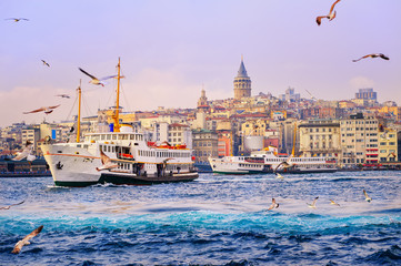 Galata tower and Golden Horn, Istanbul, Turkey