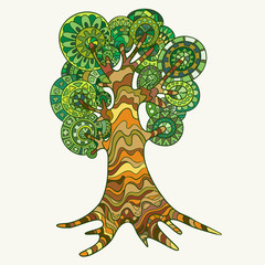 Hand-drawn tree and painted in the style of zentangl.