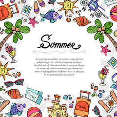 Cute decorative cover with hand drawn colored symbols of summer