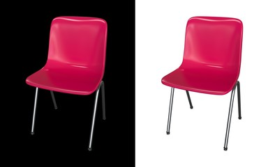 Pink chair isolated on black and white background