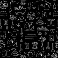Vector seamless pattern with hand drawn isolated symbols of garden on black color