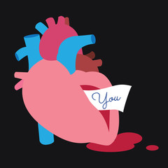 flat real heart illustration conceptual vector design