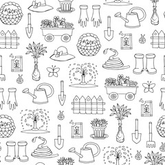Vector seamless pattern with hand drawn isolated symbols of garden on white color