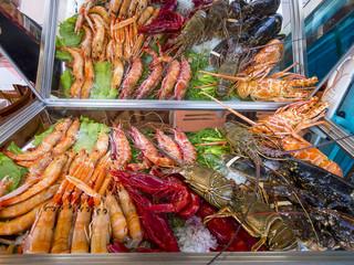 Meeresfrüchte im Hafen von Porto Banús, Marbella, Costa del Sol,  Andalusien, Spanien, Europa