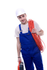 handsome young construction worker isolated on a white background