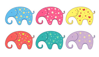 Set of little color elephants. Vector element