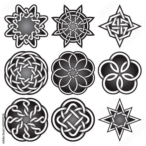 Set Of Logo Templates In Celtic Knots Style Tribal Tattoo Symbols