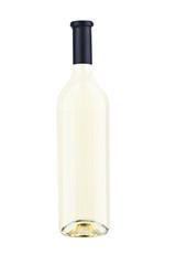 one of white wine bottle on white background