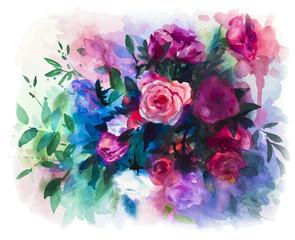 vector watercolors rose bouquet