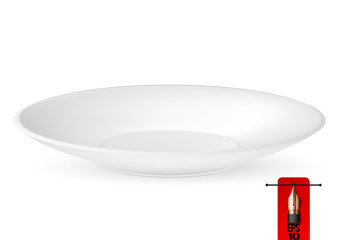 Vector illustration of empty white isolated plate. perspective view