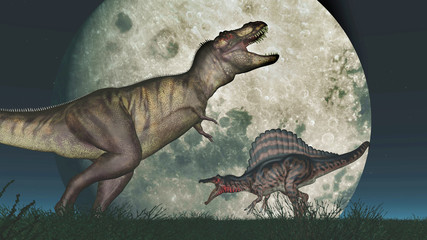 Tyrannosaurus Rex and Spinosaurus in front of the moon