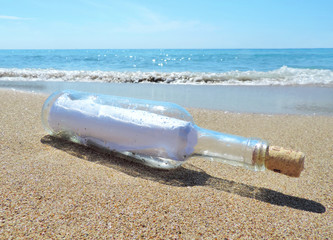 Message in a bottle, washed ashore the beach