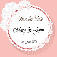 Save the date cards with paper flowers and with beautiful paper napkin.