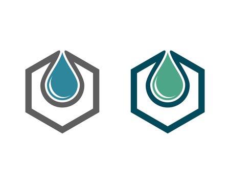 drop water and hexagon shield 2