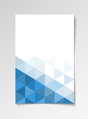Blue modern flyer design template triangle vector